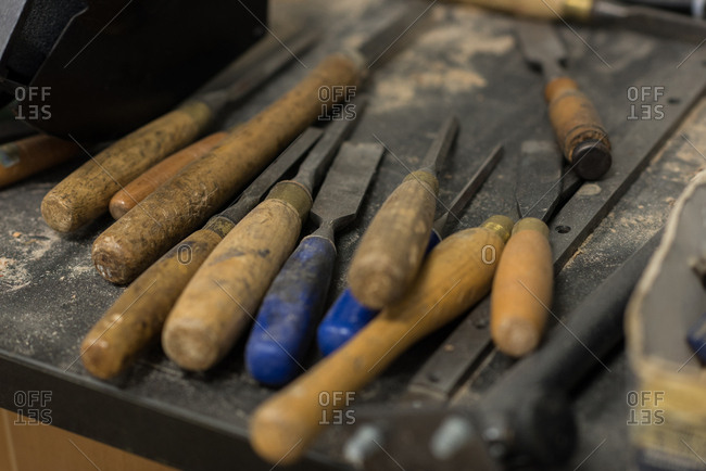 Close-up of various tools in workshop