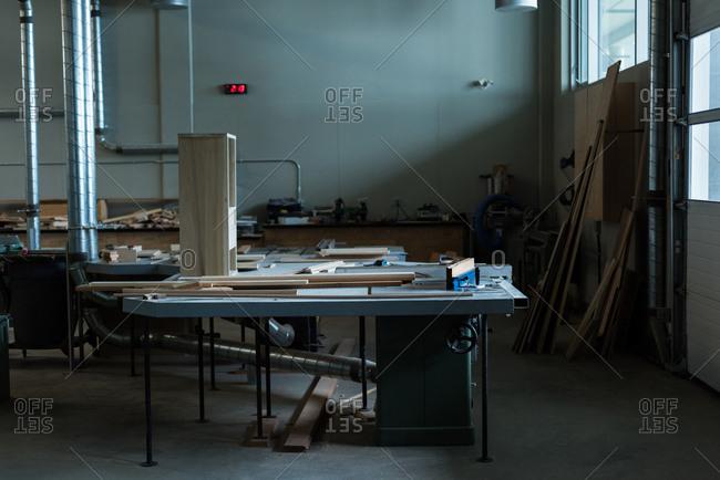 Interior of empty workshop