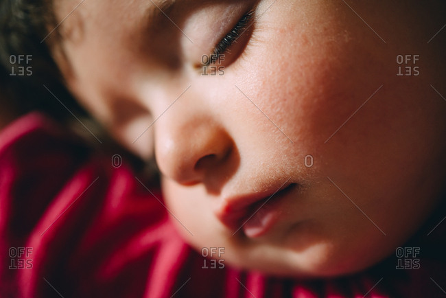 Close-up of sleeping child's face
