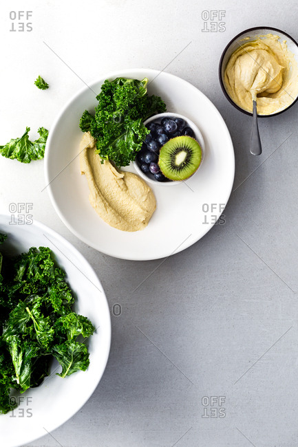 Fruit with kale and hummus