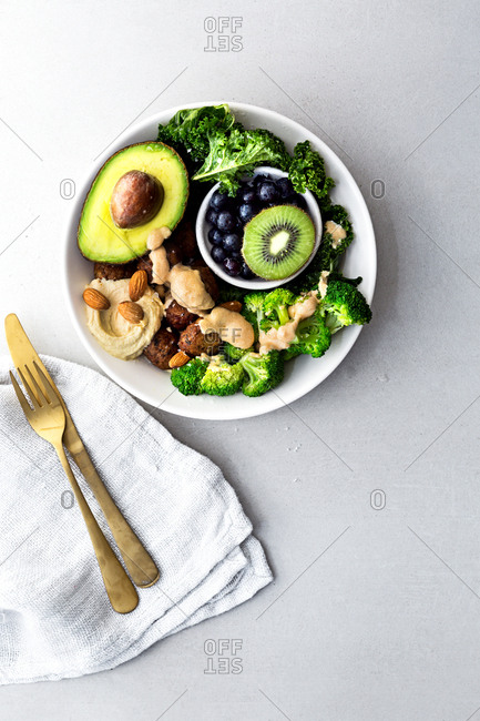 Vegan bowl on a kitchen table