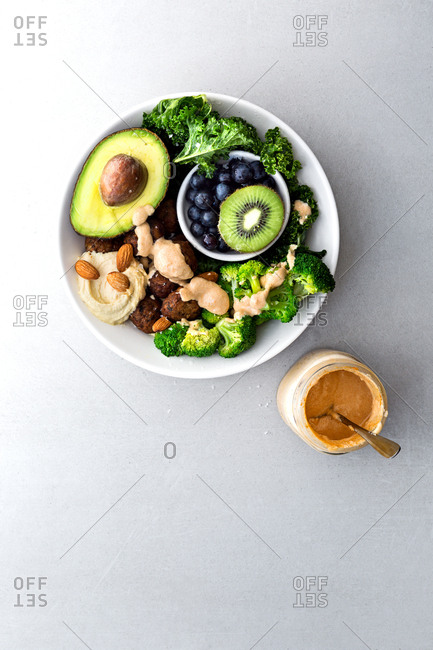 Vegan bowl on grey kitchen table