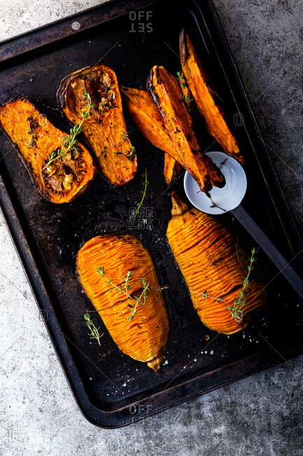 Butternut squash on roasting tray