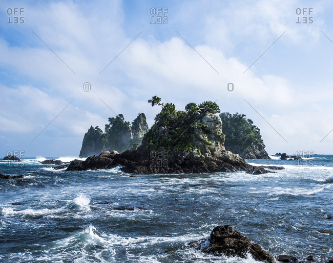 Rocky island off the coast of the southern Izu Peninsula in Japan