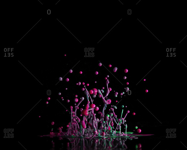 Abstract view of bouncing paint bubbles and splatter at high shutter speed