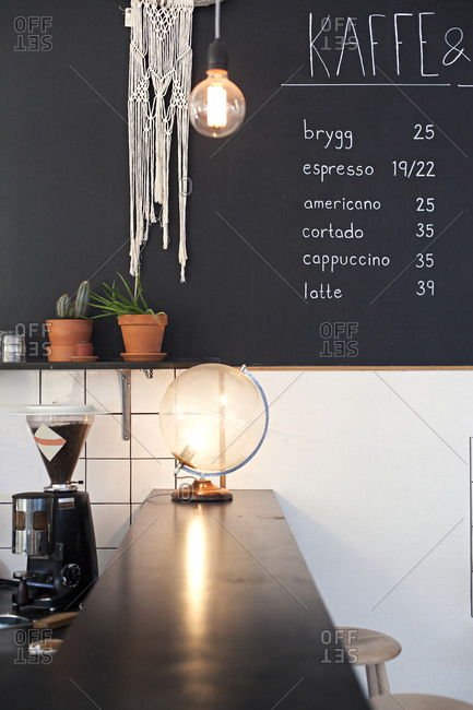 View of prices hand written on chalkboard in a cafe in Sweden