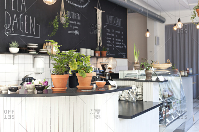 View along counter and interior of cafe in Sweden