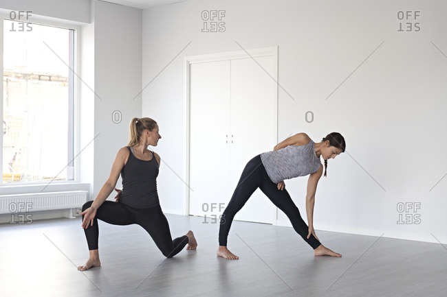 Young women in yoga positions in studio