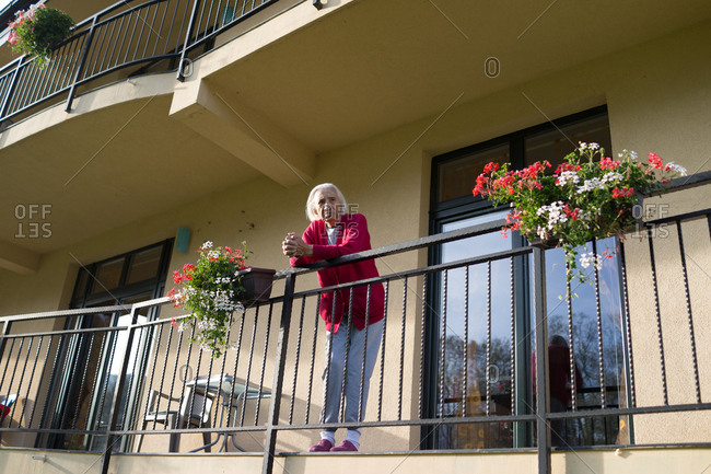 Senior women on balcony at a care home