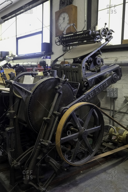 Brooklyn, USA - 24 February 2018: Antique printing press in a workshop