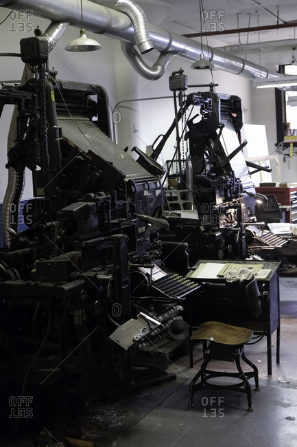 Brooklyn, USA - 24 February 2018: Antique Linotype machines in a printing shop