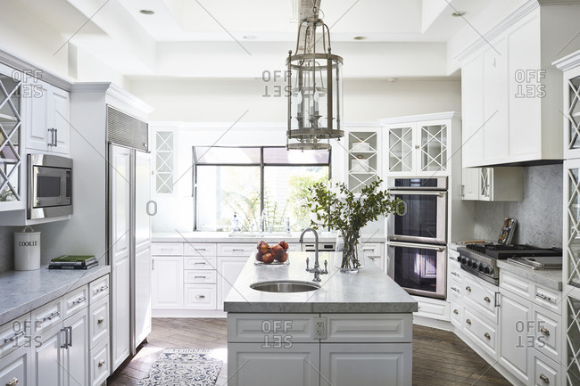 Bel Air, California - February 13, 2018: Bright kitchen in California home on the market