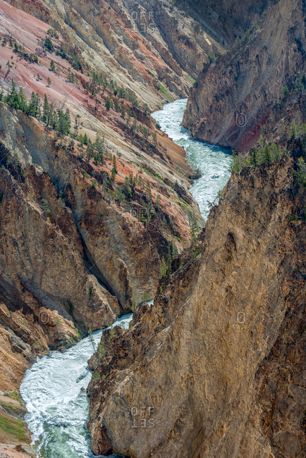 High angle mountain view of Yellowstone River