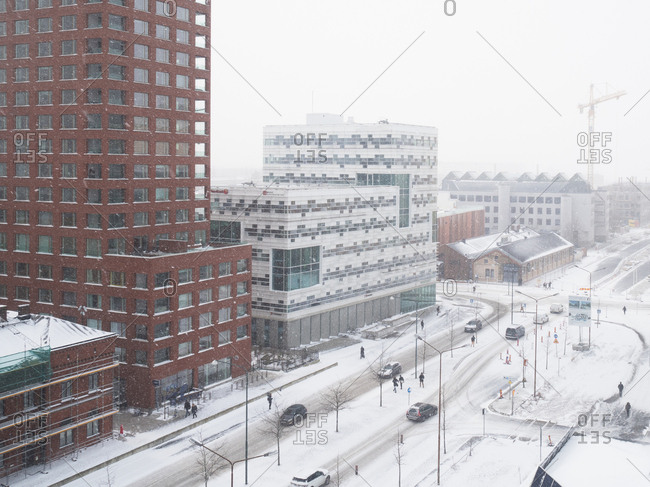 High angle view of snowy urban scene in Malmo, Sweden