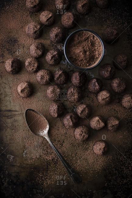 Overhead of chocolate truffle kisses