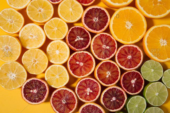 Detail shot of sliced citrus