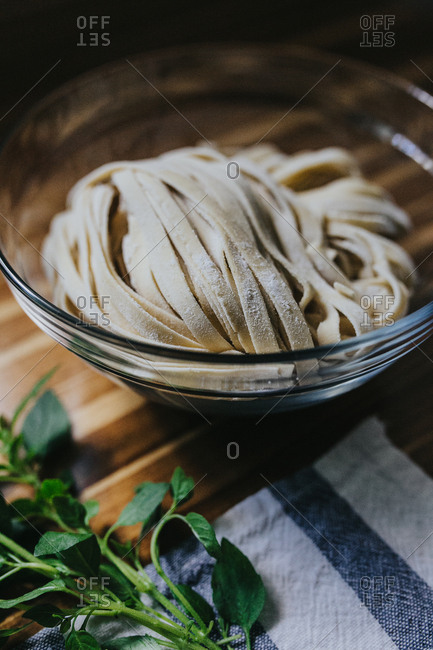 Fresh pasta and ingredients for a fresh Italian meal