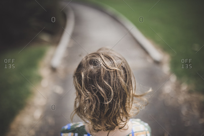 Girl walking on the road