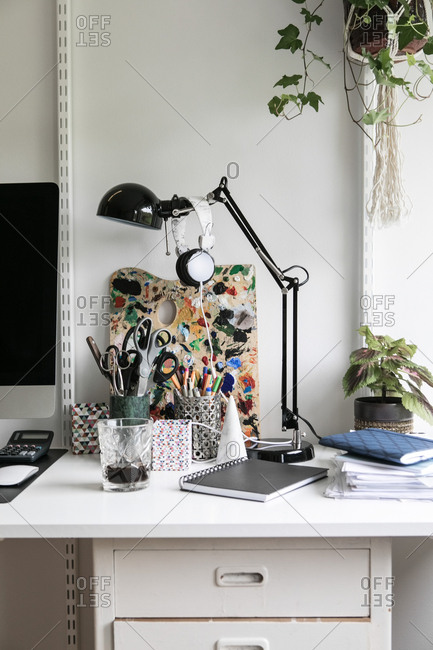 Office supplies on desk at home