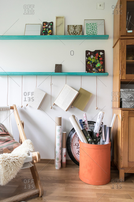 Various craft products in home office
