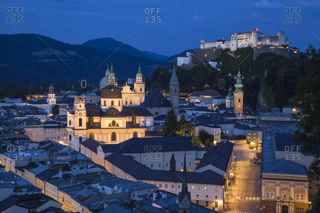 Austria, Salzburg, View of Hohensalzburg Castle above The Old City