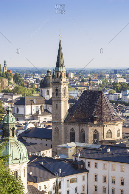 Austria, Salzburg, View of Old City, in the foreground are Petersfriedhof, St. Peter's Monastery and St. Peter's Monastery