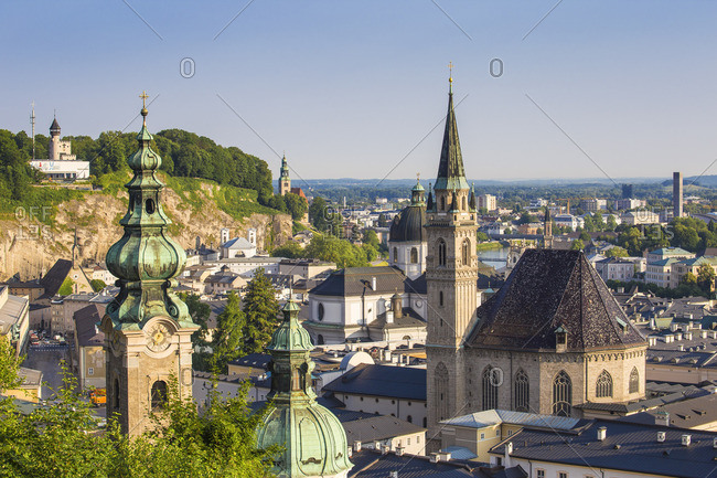 Austria, Salzburg, View of Old City, Petersfriedhof, St. Peter's Monastery and the Modern Art Museum on Monchsberg hill