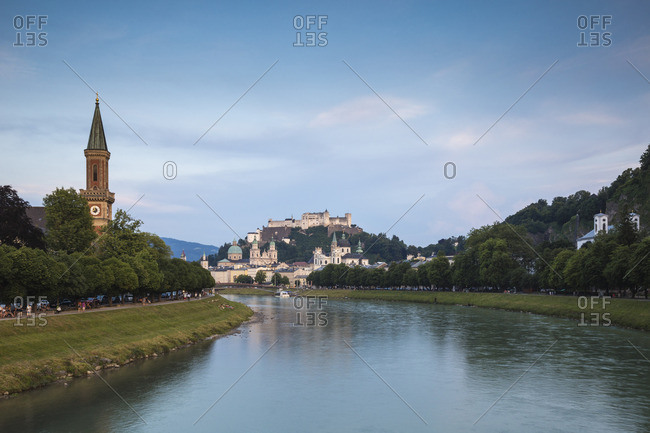 Austria, Salzburg, View of the Protestant parish Salzburg Christ Church, Salzach River and Hohensalzburg Castle above The Old City