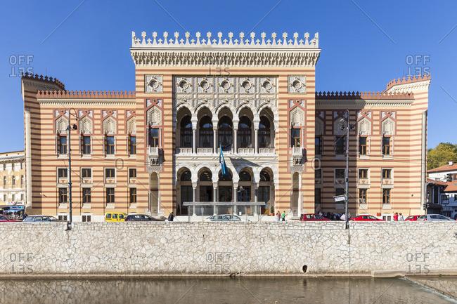October 19, 2017: Bosnia and Herzegovina, Sarajevo, Bascarsija - The Old Quarter, Town Hall (Vijecnica)