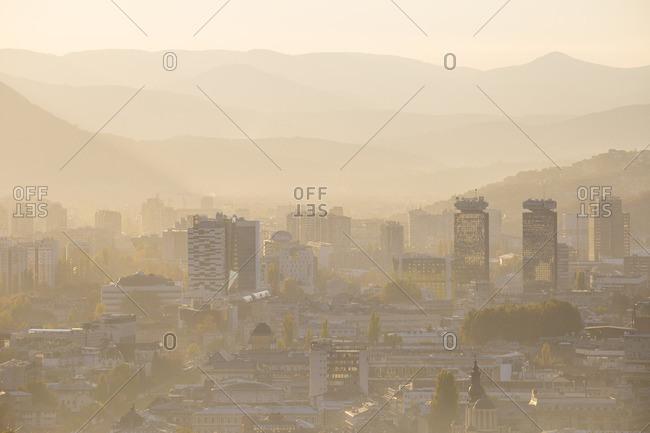 October 20, 2017: Bosnia and Herzegovina, Sarajevo, View of Sarajevo City