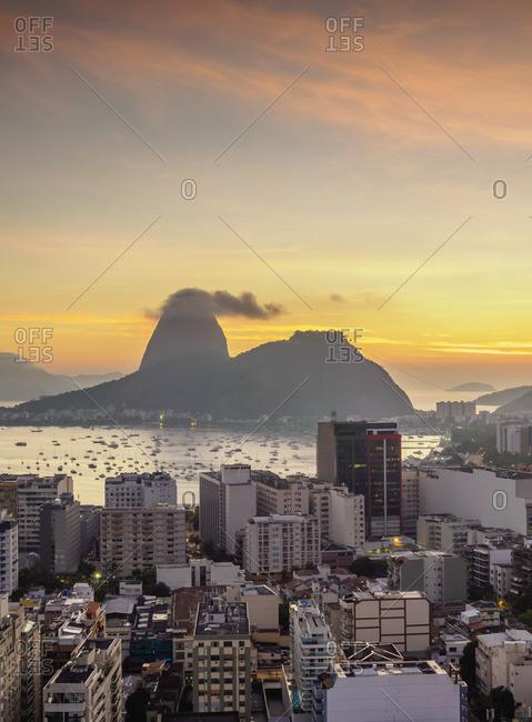 View over Botafogo towards the Sugarloaf Mountain at dawn, Rio de Janeiro, Brazil