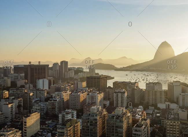 View over Botafogo towards the Sugarloaf Mountain at sunrise, Rio de Janeiro, Brazil