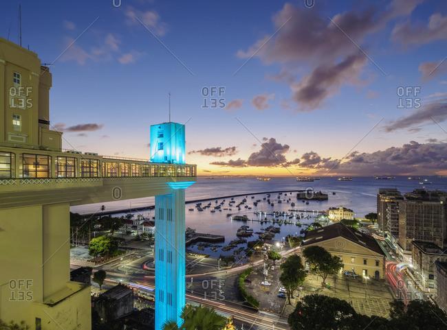 June 21, 2017: Lacerda Elevator at dusk, Salvador, State of Bahia, Brazil