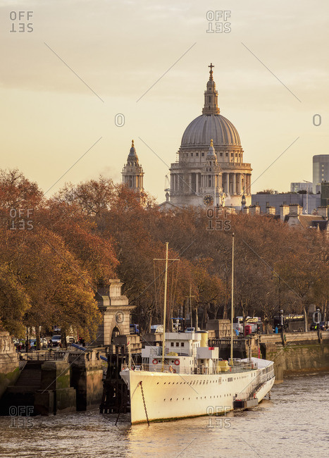 December 4, 2017: River Thames and St Pauls Cathedral at sunrise, London, England, United Kingdom