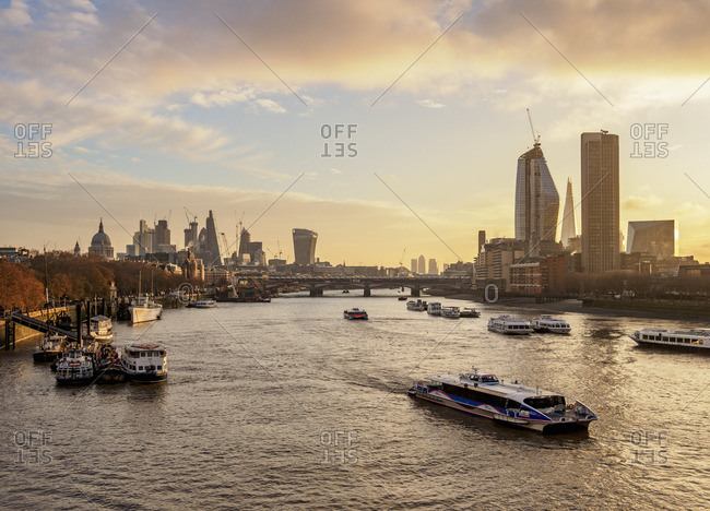 December 4, 2017: View over River Thames towards Southwark and City of London at sunrise, London, England, United Kingdom