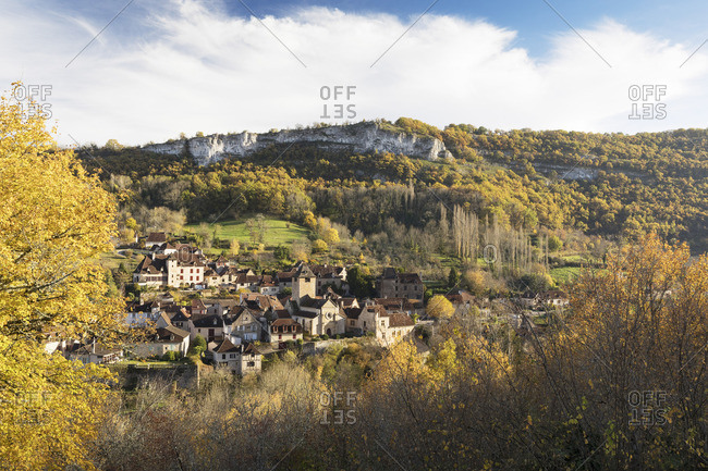 The village of Autoire in the autumn, Lot, Midi-Pyrenees, France