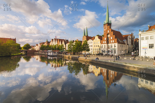 Lubeck - July 15, 2017: Lubeck, Baltic coast, Schleswig-Holstein, Germany. Old town's houses along the Trave river's waterfront.