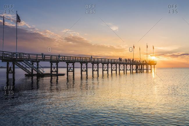 Weissenhauser Strand, Ostholstein, Schleswig-Holstein, Germany. Pier over the Baltic sea.