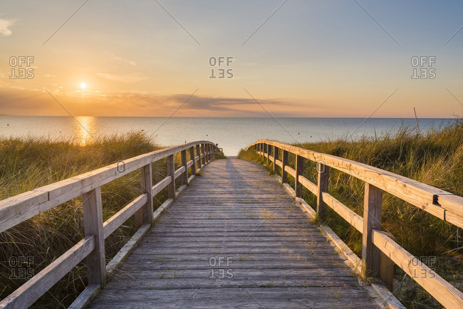 Footbridge to Weissenhauser Strand, Ostholstein, Schleswig-Holstein, Germany.