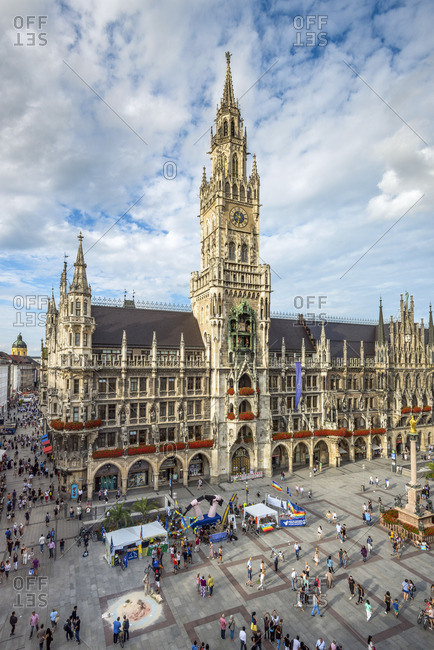 August 4, 2017: New city hall or Neues Rathaus, Marienplatz, Munich, Bavaria, Germany