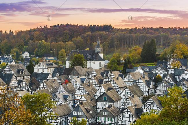 "Freudenberg, Siegen-Wittgenstein, North Rhine-Westphalia, Germany. Typical timber-framed houses in the historical ""Alter Flecken"" old town."