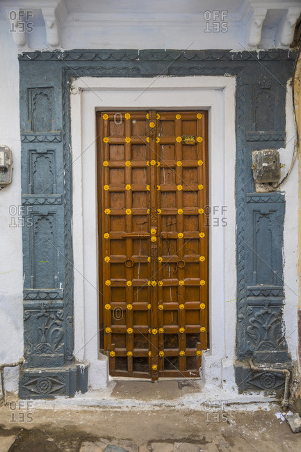 November 17, 2017: Door detail in the old town of Udaipur, Rajasthan, India