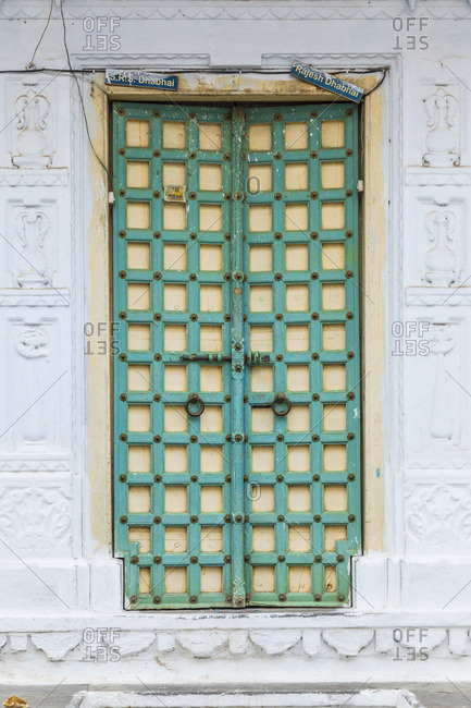 Colorful door in the old town of Udaipur, Rajasthan, India