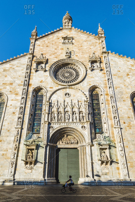 June 7, 2017: Como, Lombardy, Italy. The gothic facade of the Como Cathedral.