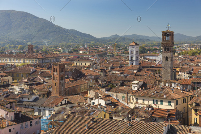 An aerial view of Lucca; Tuscany