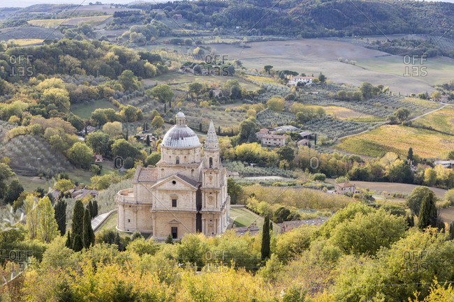 Madonna di San Biagio Church in the autumn, Montepulciano, Tuscany,