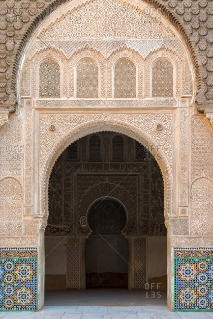 Morocco, Marrakech-Safi (Marrakesh-Tensift-El Haouz) region, Marrakesh. Ben Youssef Madrasa, 16th century Islamic college.