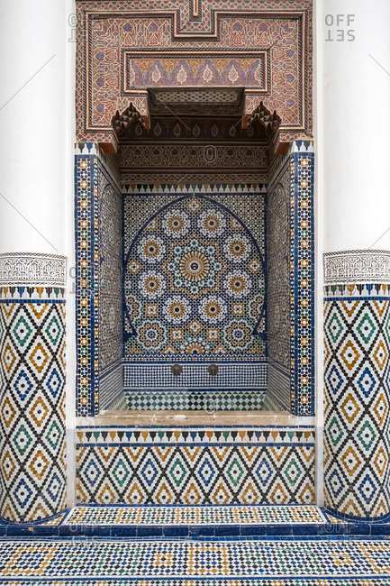 Morocco, Marrakech-Safi (Marrakesh-Tensift-El Haouz) region, Marrakesh. Intricately tiled washbasin at Marrakech Museum, housed in the 19th century Dar Menebhi Palace.