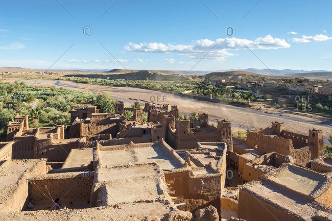 Morocco, Sous-Massa (Sous-Massa-Draa), Ouarzazate Province. View from uppter village inside of Ksar of Ait Ben Haddou (Ait Benhaddou).