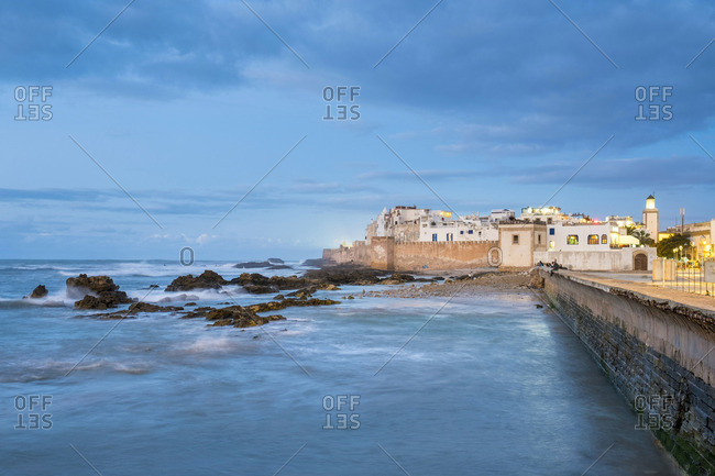 Morocco, Marrakesh-Safi (Marrakesh-Tensift-El Haouz) region, Essaouira. Medina (old town) at dusk, protected by 18th-century seafront ramparts,  Skala de la Kasbah.